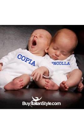 """Pack 2 bodini lupetto per gemelli """"Copia"""" ed """"Incolla"""""""