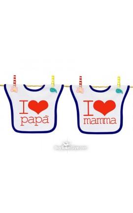OFFERTA PACK 2 BAVAGLINI - I LOVE MAMMA - I LOVE PAPA'