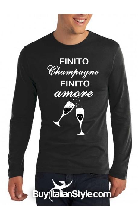 """T-shirt M-lunga uomo """"Finito champagne.Finito amore."""""""