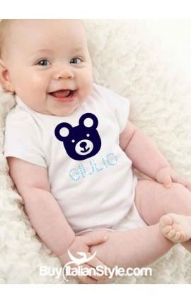 Bodino bimbo con orsetto e nome di strass personalizzabile