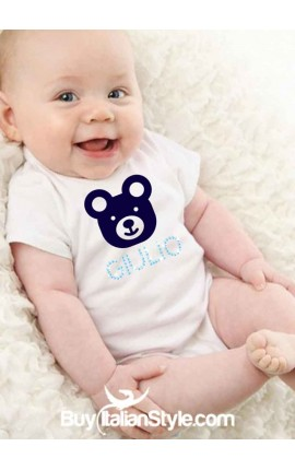 Baby bodysuit with teddy bear and customizable rhinestone name
