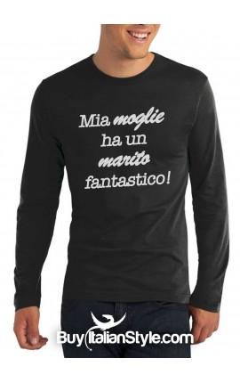 """T-shirt M-lunga uomo """"Mia moglie ha un marito fantastico"""""""
