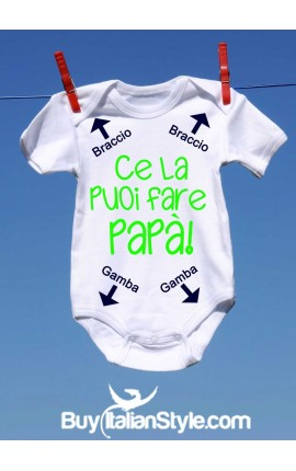 abbigliamento neonato bis body con stampa ce la puoi fare papà frecce gambe e braccie