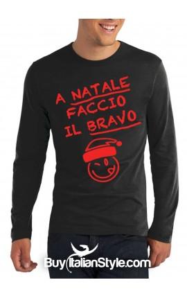 """T-shirt M-lunga uomo """"A Natale faccio il bravo"""""""