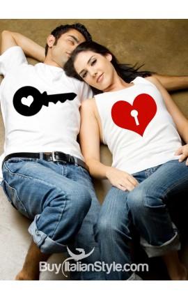 Couple Shirts Set Heart Lock and Key