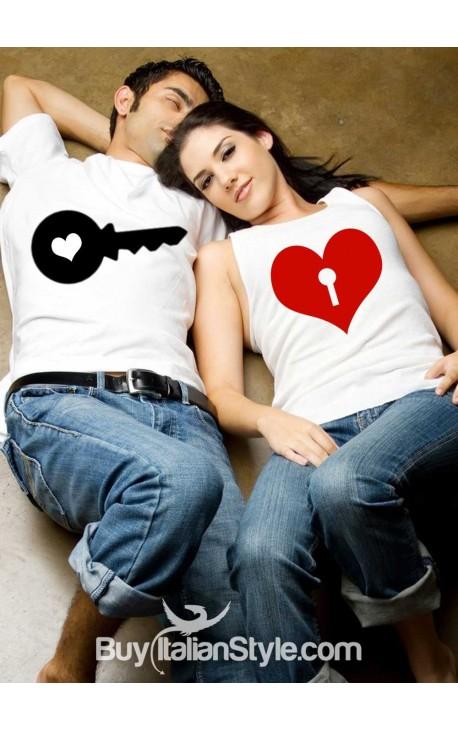 PACK: T-shirt per lui e canotta per lei CHIAVE e LUCCHETTO