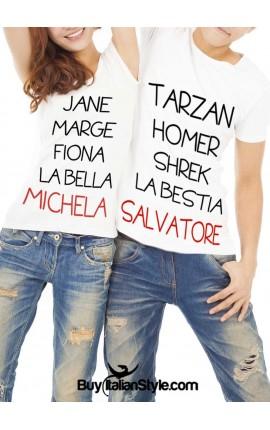"Custom Couple Shirts Set ""Names"""