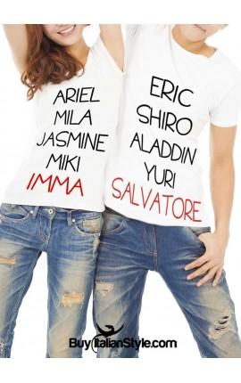 """PACK """"Coppie fantasy"""": 2 T-shirt coordinate LUI&LEI PERSONALIZZABILI con i propri nomi"""