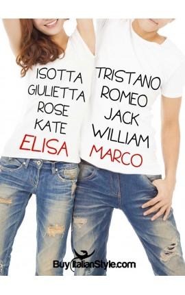 """PACK """"Coppie romantiche"""": 2 T-shirt coordinate LUI&LEI PERSONALIZZABILI con i propri nomi"""