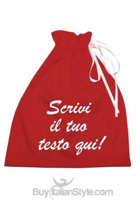 Red satin bag, customizable