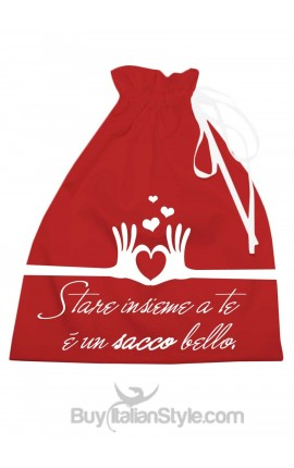 "Shiny red satin bag ""Being with you is a lot nice!"""