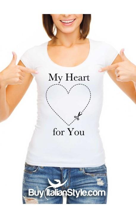 """Maglia donna mezza manica """"My heart for you"""" con cuore tratteggiato"""