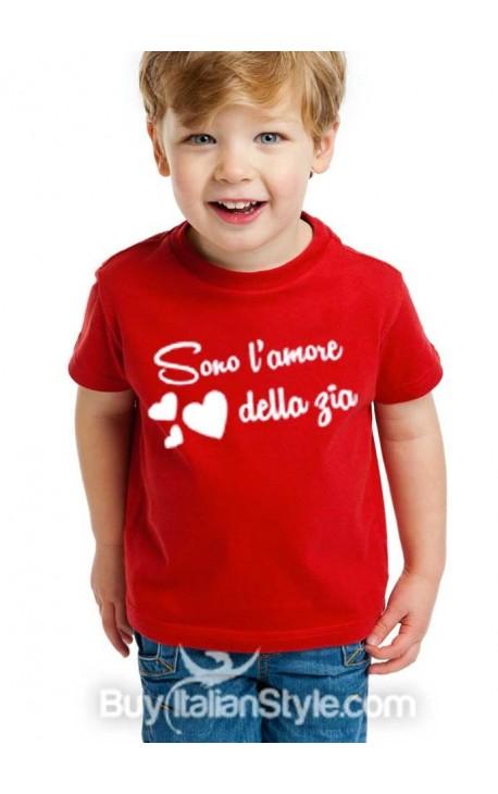 """T-shirt bimbo/a manica corta """"Sono l'amore della zia"""""""