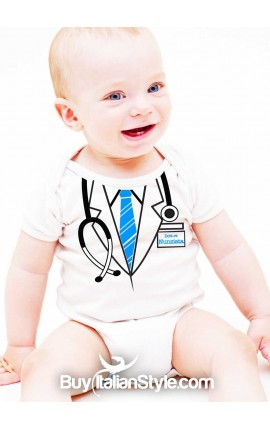 Body neonato camice da dottore PERSONALIZZABILE con cognome/nome