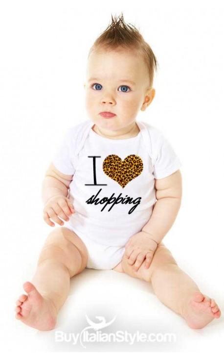 "Bodysuit half-sleeve baby girl ""I love shopping"""