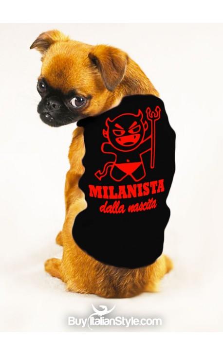 """T-shirt cotone/caldo cotone per cane """"Milanista dalla nascita"""""""