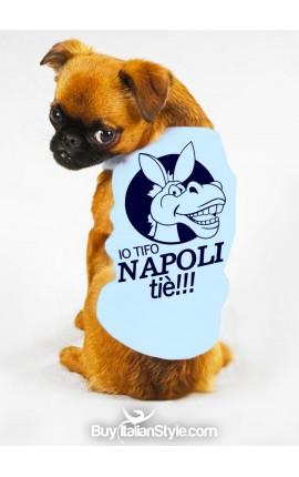 "T-shirt cotone/caldo cotone per cane ""Io tifo Napoli. Tiè!!!"""