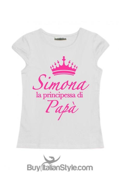 """T-shirt bimba mezza manica """"La principessa di papà"""" personalizzabile con nome"""