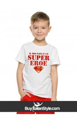 "T-shirt bimbo/a manica corta ""Il mio papà è un super eroe"""