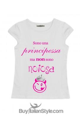 """T-shirt bimba mezza manica """"Sono una principessa ma non sono noiosa"""""""