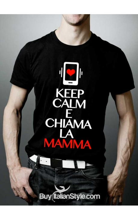 """T-shirt uomo mezza manica """"Keep calm e chiama la mamma"""""""