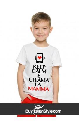 """T-shirt bimbo/a manica corta """"keep calm e chiama la mamma"""""""