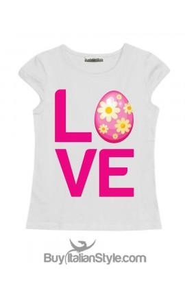 "T-shirt bimba a tema PASQUA con scritta ""LOVE"""