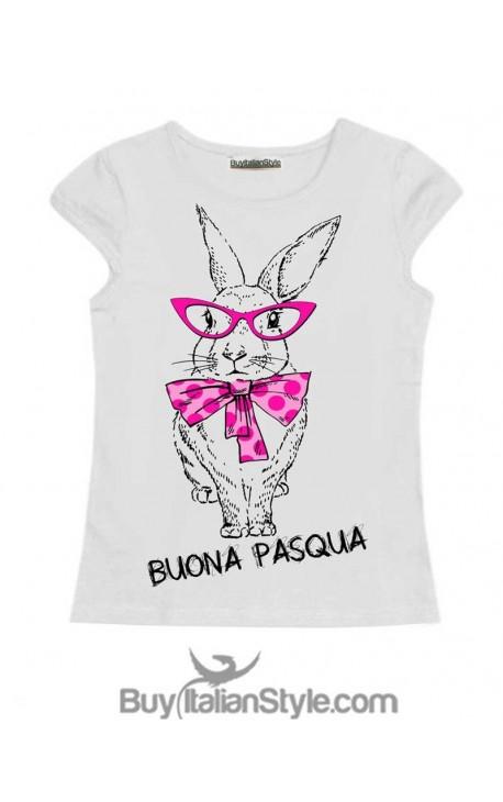 """T-shirt bimba con scritta """"BUONA PASQUA"""""""