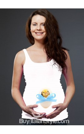 "Maternity tank top ""chick peeping in egg"""