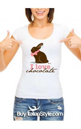 """Maglia donna mezza manica """"I love chocolate"""""""