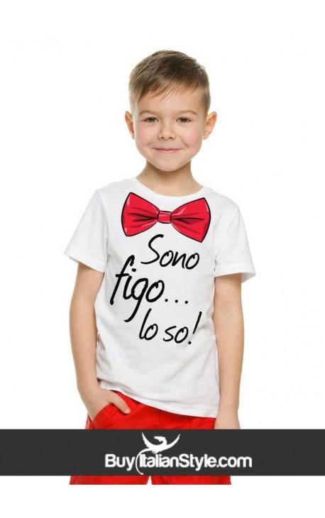 """T-shirt bimbo manica corta """"Sono figo...lo so"""""""