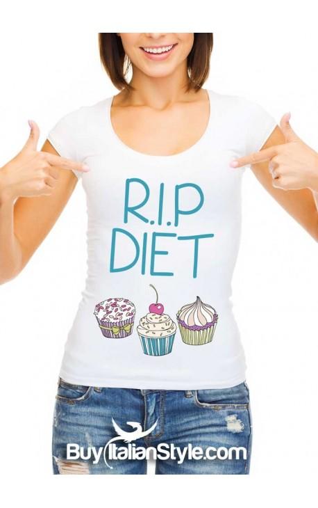 """T-shirt donna """"R.I.P. DIET"""""""