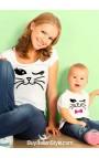 2 T-shirt coordinate MAMMA - FIGLIA con GATTO