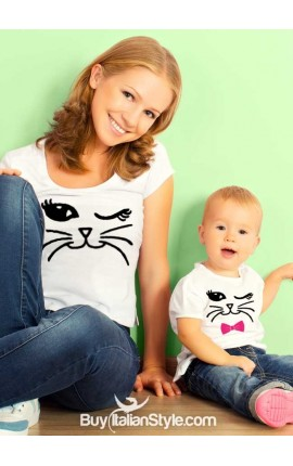 2 T-shirts coordinated MOTHER - DAUGHTER with cat
