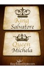 """PACK 2 """"King"""" and """"Queen"""" American placemats - CUSTOMIZED WITH NAMES"""