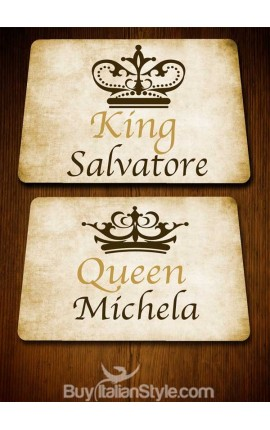 "PACK 2 ""King"" and ""Queen"" American placemats - CUSTOMIZED WITH NAMES"