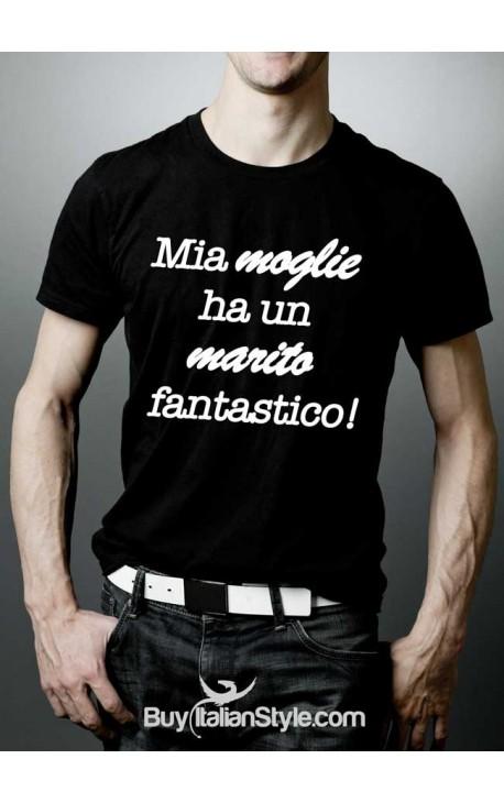 """T-shirt uomo mezza manica """"Mia moglie ha un marito fantastico"""""""