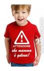 """T-shirt bimbo manica corta """"Attenzione che mamma è gelosa"""""""