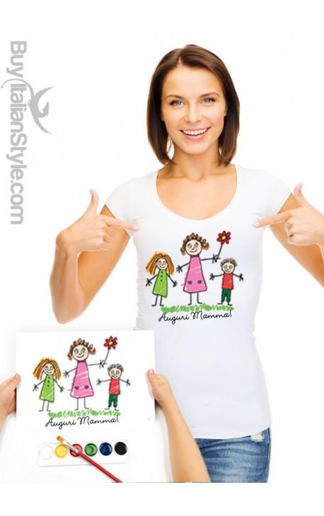 T-shirt donna PERSONALIZZABILE con il disegno del tuo bimbo