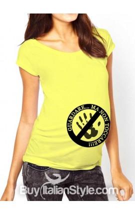 """T-shirt premaman """"Guardare ma non toccare""""."""
