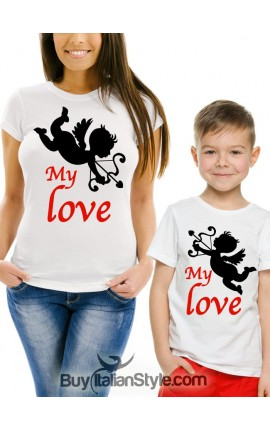 "2 T-Shirts coordinated MOTHER - SON ""My love"""
