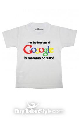 """T-shirt bimbo/a manica corta """"Non ho bisogno di Gooogle, la mamma sa tutto"""""""