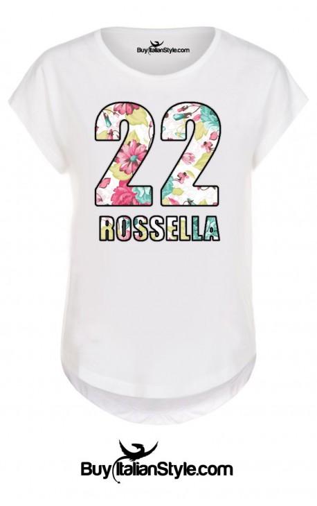 T-shirt donna bianca mezza manica PERSONALIZZABILE con PAROLA/NUMERO