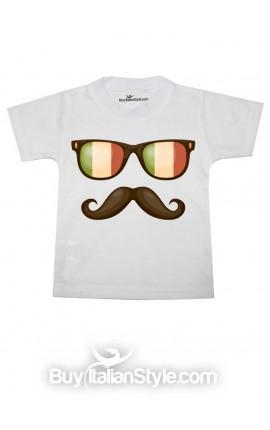 T-shirt bimbo manica corta con occhiali e baffo