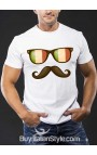 T-shirt uomo mezza manica con occhiali e baffo
