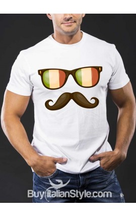 Men's half-sleeve t-shirt with glasses and a mustache