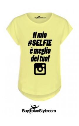 """T-shirt donna manica corta """"Il mio selfie è meglio del tuo"""""""