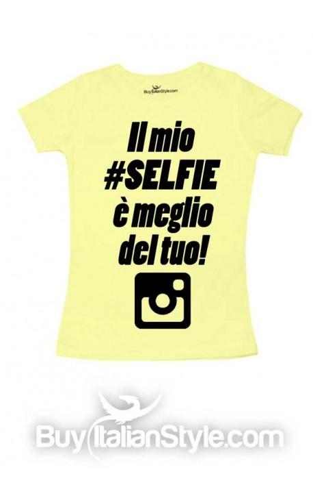 """T-shirt bimba mezza manica """"Il mio selfie è meglio del tuo"""""""