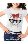"Short sleeve t-shirt ""Cat with glasses"" - Italian style"