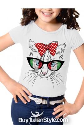 """T-shirt bimba manica corta """"Gatto con gli occhiali"""" - Italian style"""